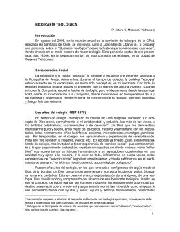 Biografia Teológica, 2005, Arturo C. Moscoso Pacheco, SJ