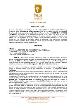COMITÉ DE DISCIPLINA RESOLUCIÓN 22/2014 En reunión