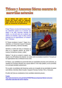 Titicaca y Amazonas lideran concurso de maravillas naturales