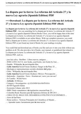 La reforma del Articulo 27 y la nueva Ley agraria (Spanish Edition) pdf