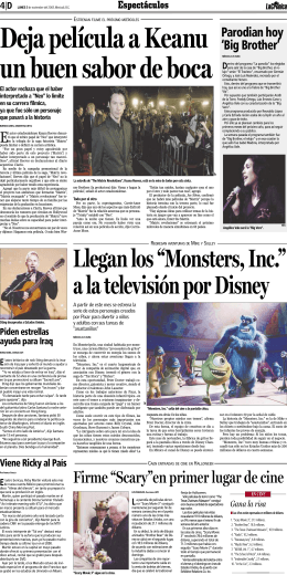 "Llegan los ""Monsters, Inc."" a la televisión por Disney"