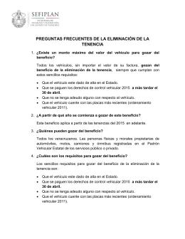 PREGUNTAS FRECUENTES DE LA ELIMINACIÓN DE LA TENENCIA