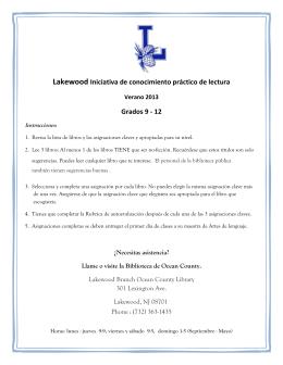 Lakewood Iniciativa de conocimiento práctico de lectura Grados 9