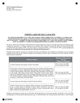 FORMULARIO DE RECLAMACIÓN - PNC Bank Overdraft Settlement