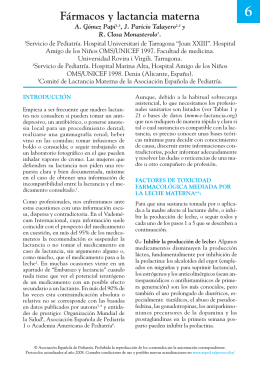 Fármacos y lactancia materna - Asociación Española de Pediatría