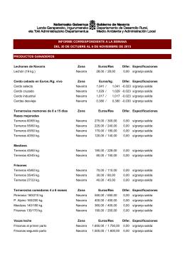 PRODUCTOS GANADEROS Lechones de Navarra Zona Euros/Res