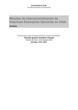 Métodos de Internacionalización de Empresas Extranjeras