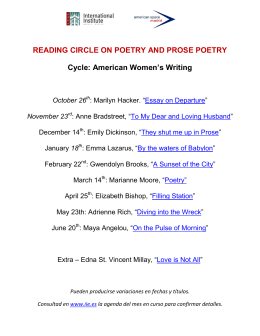 READING CIRCLE ON POETRY AND PROSE POETRY Cycle