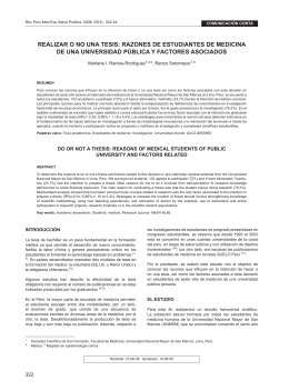 ReALIZAR o No UNA TeSIS - Instituto Nacional de Salud
