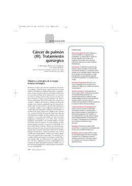 Cáncer de pulmón (III). Tratamiento quirúrgico