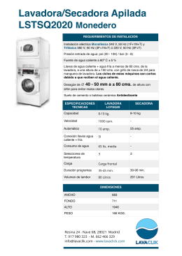 Lavadora/Secadora Apilada LSTSQ2020 Monedero
