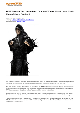 WWE Phenom The Undertaker® To Attend Wizard