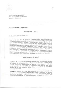 1/7 Juzgado Social 24 Barcelona Rda. de Sant Pere. 52, 4a. planta