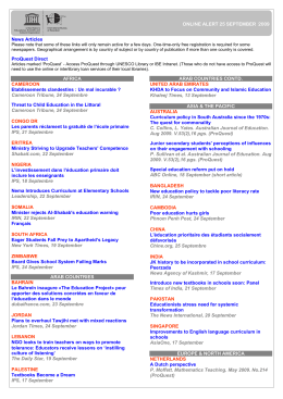 ONLINE ALERT 25 SEPTEMBER 2009 News Articles ProQuest