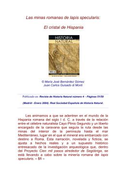 las minas romanas de lapis specularis: el cristal de hispania