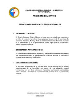 proyecto educativo principios filosoficos educacionales