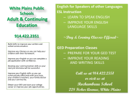 White Plains Public Schools Adult & Continuing Education