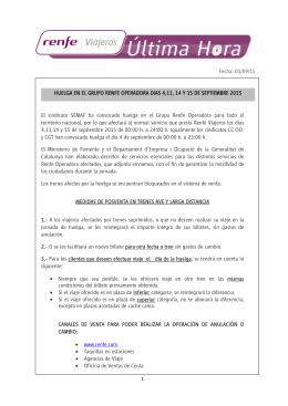 El sindicato SEMAF ha convocado huelga en el Grupo Renfe
