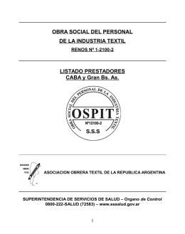 Capital Federal y Gba. - Obra Social del Personal de la Industria Textil