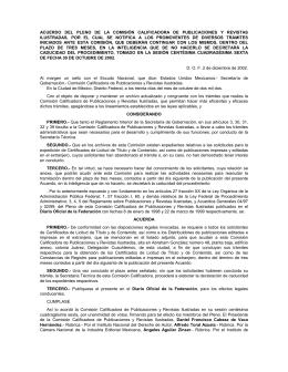 acuerdo del pleno de la comisión calificadora de publicaciones y