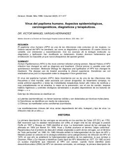 Virus del papiloma humano. Aspectos epidemiológicos