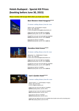 Hotels Budpest_ASI Specials