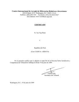 Decisión sobre jurisdicción y competencia