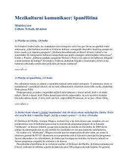 Test pro obor Španělština pro mezikulturní komunikaci (KS)