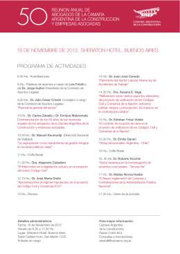 16 de noviembre de 2012. sheraton hotel. buenos aires. programa