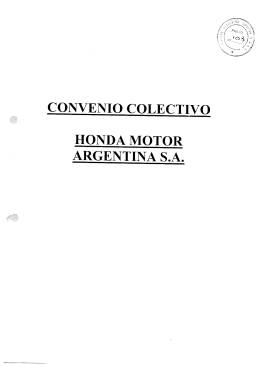 CONVENIO COLECTIVO HONDA MOTOR ARGENTINA S.A.