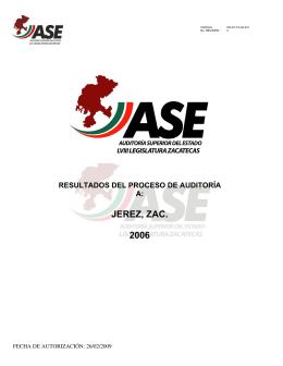 JEREZ, ZAC. 2006 - Auditoría Superior del Estado