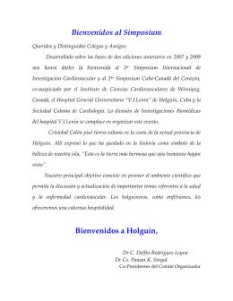 Bienvenidos al Simposium Bienvenidos a Holguín,