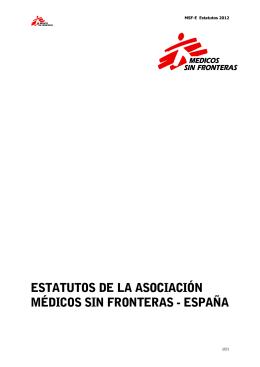 ESTATUTOS DE LA ASOCIACIÓN MÉDICOS SIN FRONTERAS
