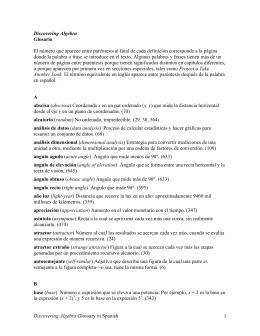 Discovering Algebra Glossary in Spanish 1 Discovering Algebra