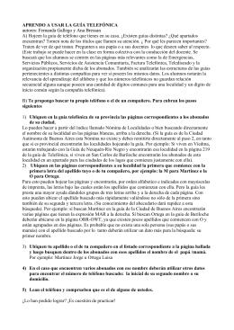 APRENDO A USAR LA GUÍA TELEFÓNICA autores: Fernanda