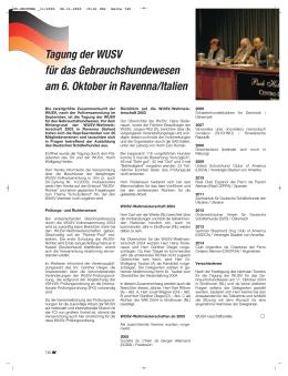 Tagung der WUSV für das Gebrauchshundewesen am 6. Oktober in