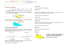 El teorema de Pitágoras Funciones Trigonométricas sen(α) = X/H