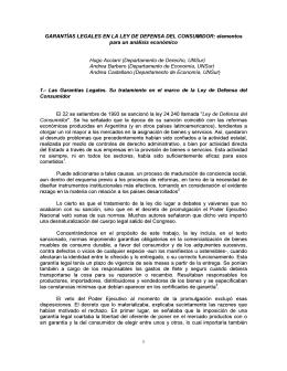 Garantías legales en la ley de defensa del consumidor