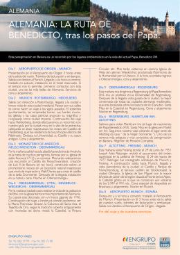 ALEMANIA: LA RUTA DE BENEDICTO, tras los