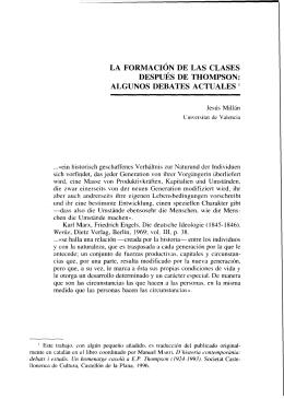 LA FORMACIÓN DE LAS CLASES DESPUÉS DE THOMPSON