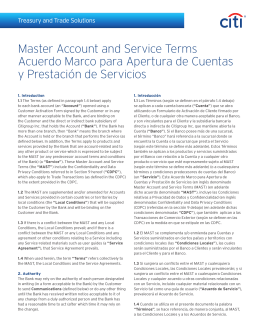 Master Account and Service Terms Acuerdo Marco para Apertura de