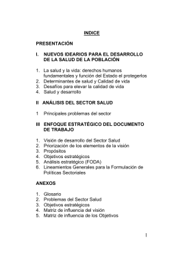 Bolivia - Bases del Plan Estrategico de Salud 2006