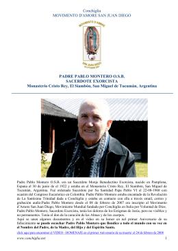 PADRE PABLO MONTERO O.S.B. Sacerdote Exorcista