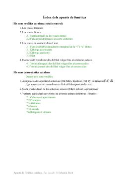 Apunts de fonètica catalana. Segon de Batxillerat