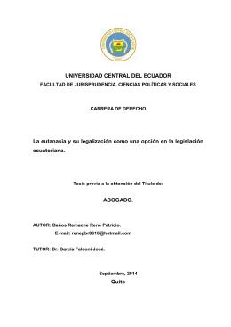 UNIVERSIDAD CENTRAL DEL ECUADOR La eutanasia y su
