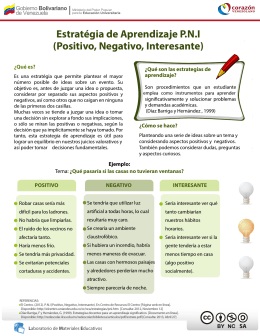 Estratégia de Aprendizaje P.N.I (Positivo, Negativo, Interesante)