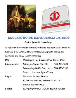 ENCUENTRO DE EXPERIENCIA DE DIOS