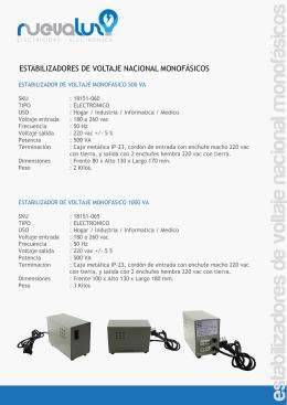 estabilizadores de voltaje nacional monofásicos