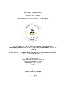 Universidad de Montemorelos Facultad de Educación Escuela