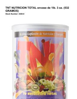 TNT NUTRICION TOTAL envase de 1lb. 3 oz. (532 GRAMOS)